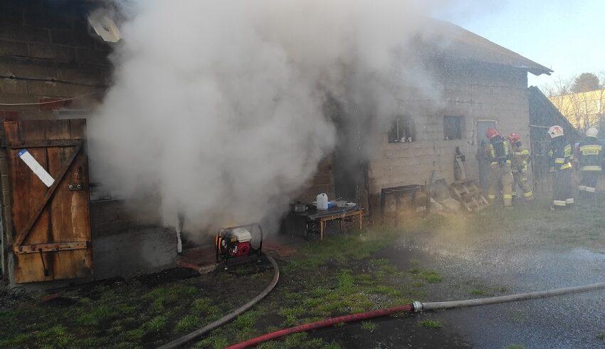 Pożar budynku w Kawnicach