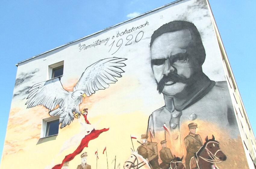 Mural na budynku Zespołu Szkół Mikołaja Kopernika tematem briefingu Solidarnej Polski